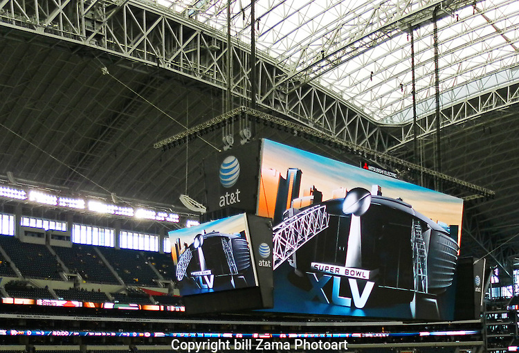 Inside Cowboys Stadium for the Super Bowl.  Photo by Peter Zama.