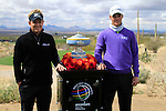 Luke Donald (ENG) and Martin Kaymer (GER) with the trophy on the 1st tee before the start of Finals Day 5 of the Accenture Match Play Championship from The Ritz-Carlton Golf Club, Dove Mountain, Sunday 27th February 2011. (Photo Eoin Clarke/golffile.ie)