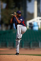 Lancaster JetHawks relief pitcher Salvador Justo (35) delivers a pitch during a California League game against the Inland Empire 66ers at San Manuel Stadium on May 20, 2018 in San Bernardino, California. Inland Empire defeated Lancaster 12-2. (Zachary Lucy/Four Seam Images)