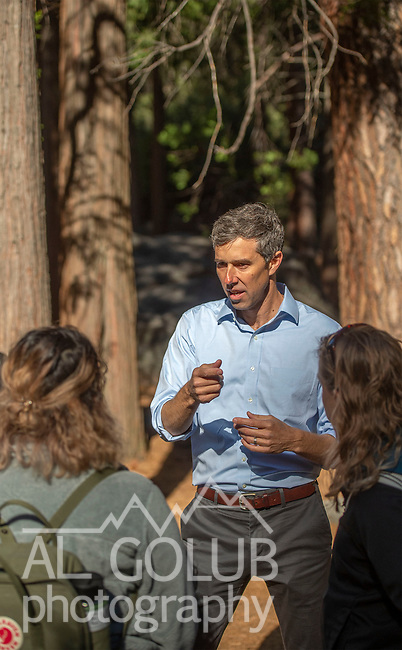 Beto O'Rourke Unveils Climate Plan With Yosemite as Backdrop, Beto meets with Dr. Anne Kelly, Director of UC Merced's Yosemite Field Station and Leslie Martinez, Environmental Justice Advocate while while walking Yosemite Falls trail.   Photo by Al Golub/NPS