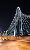 This is a verticle image of the Margaret Hunt Hill Bridge in Dallas Texas.  It is one of the most popular things to see in the city of Dallas.