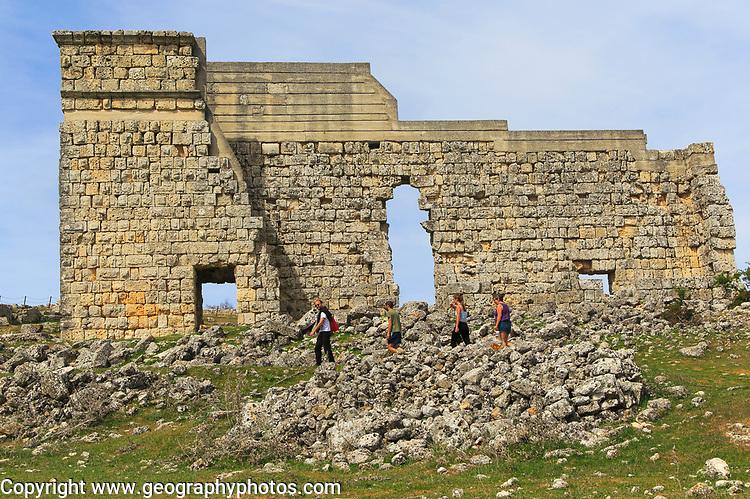 Remains of theatre stage background wall, Acinipo Roman town site Ronda la Vieja, Cadiz province, Spain