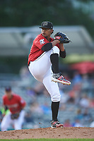 Billings Mustangs starting pitcher Omar Conoropo (24) during a Pioneer League game against the Grand Junction Rockies at Dehler Park on August 15, 2019 in Billings, Montana. Billings defeated Grand Junction 11-2. (Zachary Lucy/Four Seam Images)