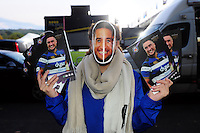 A Bath Rugby programme seller wears a Leroy Houston mask. European Rugby Challenge Cup match, between Bath Rugby and Bristol Rugby on October 20, 2016 at the Recreation Ground in Bath, England. Photo by: Patrick Khachfe / Onside Images