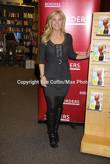 "Days Of Our Lives and Biggest Loser Alison Sweeney signed her new book ""The Mommy Debt"" on January 4, 2011 at Borders, Columbus Circle, New York City, New York. (Photo by Sue Coflin/Max Photos)"