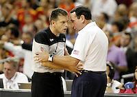 USA's coach Mike Krzyzewski (r) have words with the referee during friendly match.July 24,2012. (ALTERPHOTOS/Acero) /NortePhoto.com<br /> **CREDITO*OBLIGATORIO** *No*Venta*A*Terceros*<br /> *No*Sale*So*third* ***No*Se*Permite*Hacer Archivo***No*Sale*So*third*©Imagenes*con derechos*de*autor©todos*reservados*.