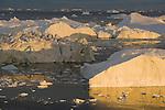 Large icebergs at midnight, end of June, mid summer night; Disko Bay, Greenland
