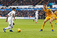 (L-R) Wayne Routledge of Swansea City and Dan Burn of Wigan Athletic in action during the Sky Bet Championship match between Swansea City and Wigan Athletic at the Liberty Stadium, Swansea, Wales, UK. Saturday 29 December 2018