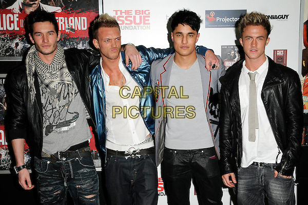 """VICE  - SCOTT, STAZ, KEVIN, LUKE.Attending the """"Malice In Wonderland"""" UK Film Premiere, Prince Charles Cinema, Leicester Square, London, England, UK,.February 4th 2010..arrivals half length boy band group grey gray tie white shirt jacket leather black scarf jeans blue shiny bomber .CAP/CAN.©Can Nguyen/Capital Pictures."""