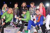 SCHAATSEN: AMSTERDAM: Olympisch Stadion, 28-02-2014, KPN NK Sprint/Allround, Coolste Baan van Nederland, Huldiging Olympische medaillewinnaars, Koen Verweij, Ireen Wüst, Jorien ter Mors, ©foto Martin de Jong