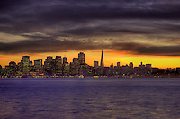An HDR processed image of San Francisco at sunset taken from Treasure Island
