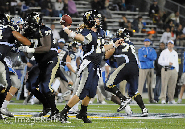 Florida International University football player quarterback Wesley Carroll (13) plays against Middle Tennessee State University on December 04, 2010 at Miami, Florida. MTU won the game 28-27. .