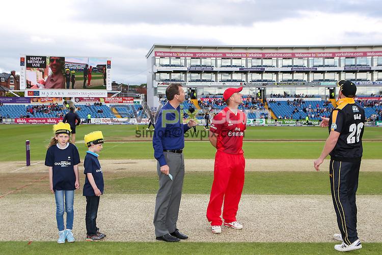 Picture by Alex Whitehead/SWpix.com - 05/06/2015 - Cricket - NatWest T20 Blast - Yorkshire Vikings v Lancashire Lightning - Headingley Cricket Ground, Leeds, England - Yorkshire's Andrew Gale and Lancashire's Steven Croft complete the toss.