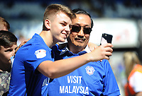 Cardiff City owner Vincent Tan has a selfie with a support prior to kick off <br /> <br /> Photographer Ashley Crowden/CameraSport<br /> <br /> The EFL Sky Bet Championship - Cardiff City v Aston Villa - Saturday August 12th 2017 - Cardiff City Stadium - Cardiff<br /> <br /> World Copyright &copy; 2017 CameraSport. All rights reserved. 43 Linden Ave. Countesthorpe. Leicester. England. LE8 5PG - Tel: +44 (0) 116 277 4147 - admin@camerasport.com - www.camerasport.com