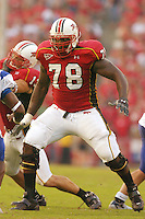 "09 September 2006:  Maryland 6'9"" tackle Jared Gaither (78)..The Maryland Terapins defeated the Middle Tennessee Blue Raiders 24-10 September 9, 2006 at Chevy Chase Bank Field at Byrd Stadium in College Park, MD.."