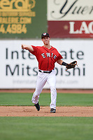 Erie SeaWolves shortstop A.J. Simcox (10) throws to first base during a game against the Hartford Yard Goats on August 6, 2017 at UPMC Park in Erie, Pennsylvania.  Erie defeated Hartford 9-5.  (Mike Janes/Four Seam Images)