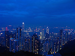 View at Hongkongs Central District by night with the International Finance Centre.