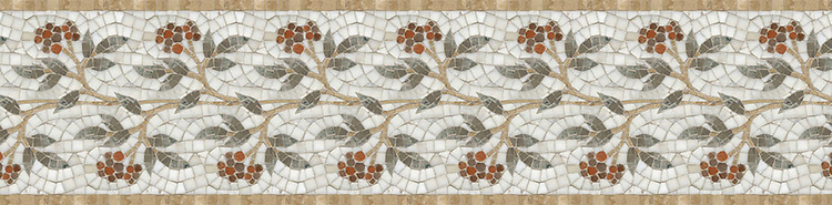 "10 1/4"" Juniper border, a hand-cut stone mosaic, shown in polished Rosa Verona, Aegean Brown, Salmon Moss, Montevideo, and Calacatta Tia."