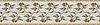 "10 1/4"" Juniper border, a hand-cut stone mosaic, shown in polished Rosa Verona, Aegean Brown, Salmon Moss, Montevideo, and Calacatta Tia."