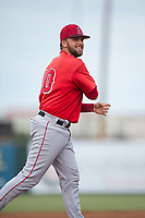 AZL Angels catcher Brett Bond (10) is called in to pitch the ninth inning during the completion of a suspended Arizona League game against the AZL Diamondbacks at Tempe Diablo Stadium on July 16, 2018 in Tempe, Arizona. The game was a continuation of the July 11, 2018 contest that was suspended by rain in the middle of the eighth inning. The AZL Diamondbacks defeated the AZL Angels 12-8. (Zachary Lucy/Four Seam Images)