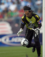 Puebla FC goalkeeper Edgar Hernandez (1) controls a rebound. The New England Revolution defeated Puebla FC in penalty kicks, in SuperLiga 2010 semifinal at Gillette Stadium on August 4, 2010.
