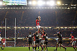 Aaron Shingler takes the lineout ball for Wales..RBS 6 Nations 2012.Wales v Scotland.Millennium Stadium.12.02.12.Credit: Steve Pope - Sportingwales
