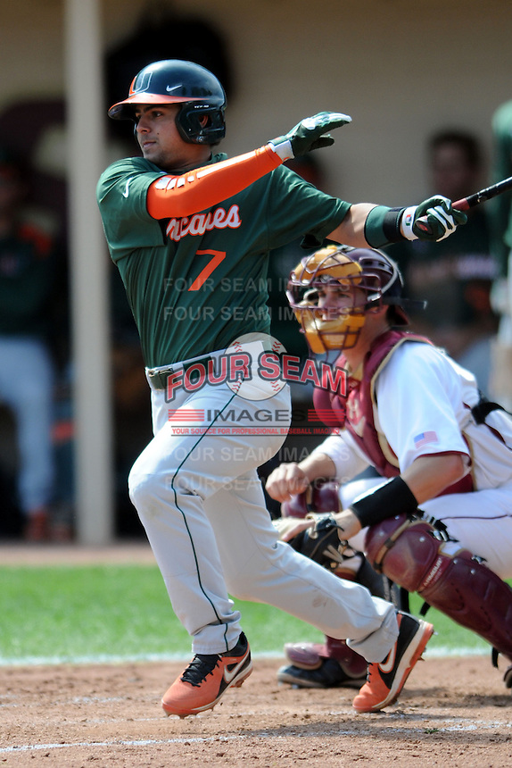 University of Miami Hurricanes infielder Alexander Hernandez #7 during a game versus the Boston College Eagles at Shea Field in Chestnut Hill, Massachusetts on April 26, 2013.  (Ken Babbitt/Four Seam Images)