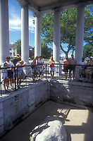 Plymouth, Plymouth Rock, Massachusetts, A crowd of people observe the grand Plymouth Rock