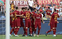 Football, Serie A: AS Roma - Sassuolo, Olympic stadium, Rome, September 15, 2019. <br /> Roma's Bryan Cristante (c) celebrates after scoring with his teammates during the Italian Serie A football match between Roma and Sassuolo at Olympic stadium in Rome, on September 15, 2019.<br /> UPDATE IMAGES PRESS/Isabella Bonotto
