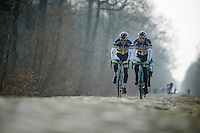 Paris-Roubaix 2013 RECON at Bois de Wallers-Arenberg..Björn Leukemans (BEL) & Kris Boeckmans (BEL)