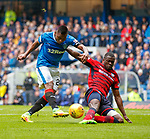 07.04.2018: Rangers v Dundee:<br /> Alfredo Morelos has his shot stopped by Genseric Kusunga