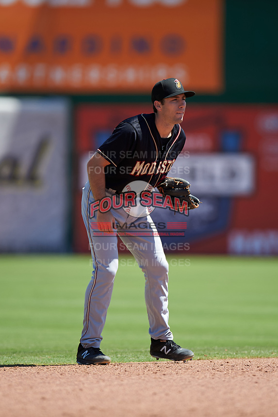 Modesto Nuts shortstop Johnny Adams (25) during a California League game against the Inland Empire 66ers on April 10, 2019 at San Manuel Stadium in San Bernardino, California. Inland Empire defeated Modesto 5-4 in 13 innings. (Zachary Lucy/Four Seam Images)
