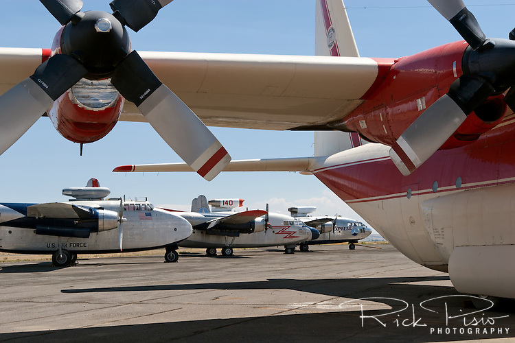 Hawkins and Powers aircraft on the tarmac in Greybull, Wyoming. In August of 2006 all of the remaining Hawkins and Powers assets were auctioned off.<br />