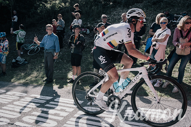 Colombian Champion Sergio Henao (COL/SKY) up the infamous Muro di Sormano (avg 17%/max 25%)<br /> <br /> Il Lombardia 2017<br /> Bergamo to Como (ITA) 247km