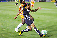 Marta #10 of the Los Angeles Sol attacks the defense of  Sky Blue FC during their WPS game at Home Depot Center on May 15, 2009 in Carson, California.