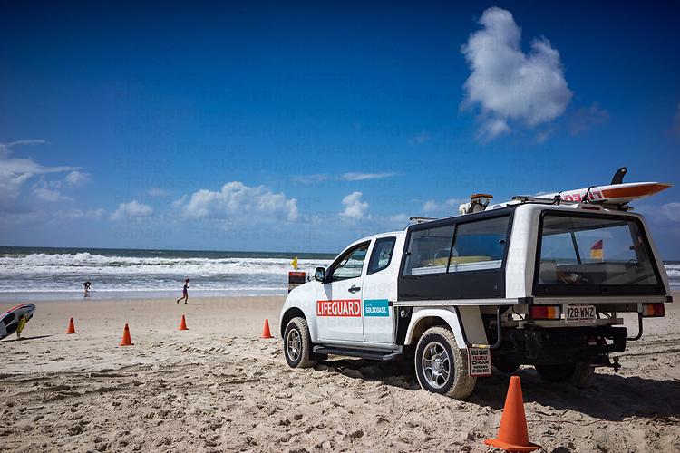A beach patrol tower on a beach in miami Gold coast Australia