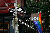 NEW YORK, NY - JUNE 18: The Guy street sign is pictured near the historical landmark Tavern The Stonewall Inn on June 18, 2019 in New York. The Stonewall riots were a series of violent demonstrations by members of the gay (LGBT) community against a police raid starting June 28, 1969, at the Stonewall Inn at the Greenwich Village neighborhood of Manhattan, . (Photo by STRKB/VIEWpress)