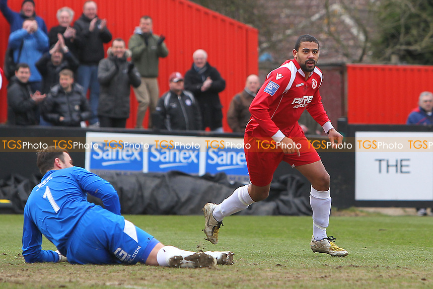 Jake Reid celebrates scoring the first goal for Welling - Welling United vs Chelmsford City - Blue Square Conference South Football at Park View Road - 29/03/13 - MANDATORY CREDIT: Gavin Ellis/TGSPHOTO - Self billing applies where appropriate - 0845 094 6026 - contact@tgsphoto.co.uk - NO UNPAID USE.