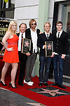 LOS ANGELES - FEB 6: Destry; Dewey Bunnell; Matt; Gerry Beckley; son Joe at a ceremony where their rock band 'America' in honored with a star on the Hollywood Walk of Fame in Los Angeles, California