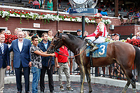 Proven Reserves (no. 3), ridden by  Irad Ortiz, Jr., and trained by Chad Brown wins Race 8, Aug. 3, 2018 at the Saratoga Race Course, Saratoga Springs, NY.   (Photo credit: Bruce Dudek/Eclipse Sportswire)