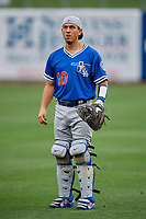Austin Barnes (10) of the Oklahoma City Dodgers before the game against the Salt Lake Bees at Smith's Ballpark on July 31, 2019 in Salt Lake City, Utah. The Dodgers defeated the Bees 5-3. (Stephen Smith/Four Seam Images)