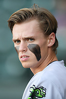 Second baseman Simon Whiteman (10) of the Augusta GreenJackets wears heavy eye black before a game against the Greenville Drive on Thursday, August 29, 2019, at Fluor Field at the West End in Greenville, South Carolina. (Tom Priddy/Four Seam Images)