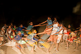 PHILIPPINES, Palawan, Barangay region, children play tug-of-war without a rope in Kalakwasan Village