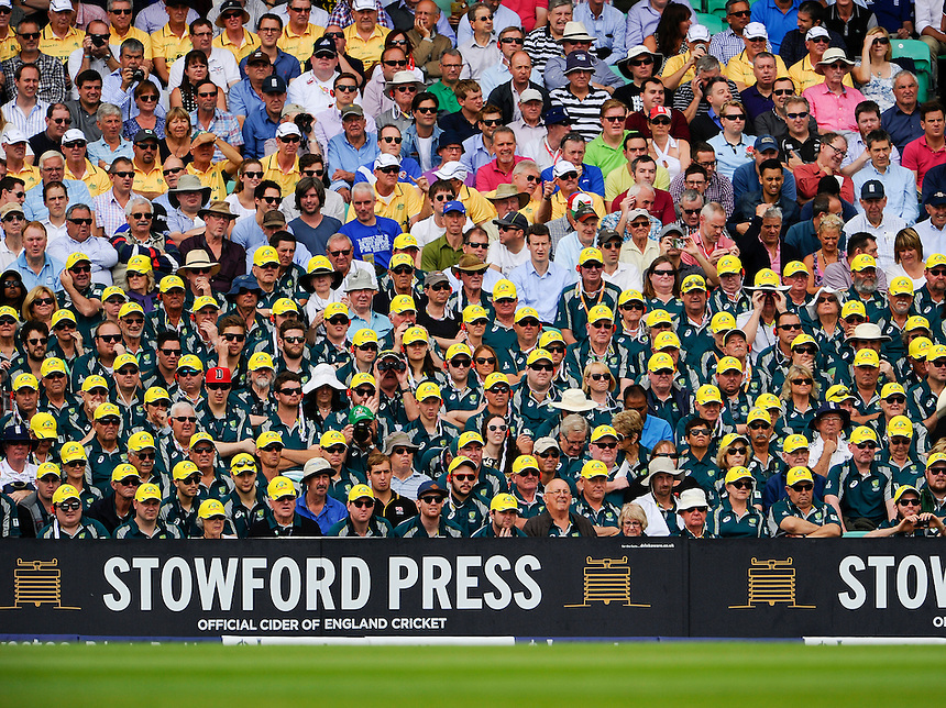 Australian fans at The Oval on the 1st day of the 5th Test<br /> <br /> Photographer Ashley Western/CameraSport<br /> <br /> International Cricket - Investec Ashes Test Series 2015 - Fifth Test - England v Australia - Day 1 - Thursday 20th August 2015 - Kennington Oval - London<br /> <br /> &copy; CameraSport - 43 Linden Ave. Countesthorpe. Leicester. England. LE8 5PG - Tel: +44 (0) 116 277 4147 - admin@camerasport.com - www.camerasport.com