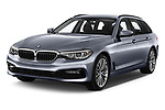 2018 BMW 5 Series Touring Sport 5 Door Wagon angular front stock photos of front three quarter view