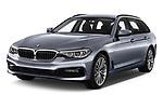 2018 BMW 5 Series Touring Sport 5 Door Wagon angular front stock photos of front three quarter view