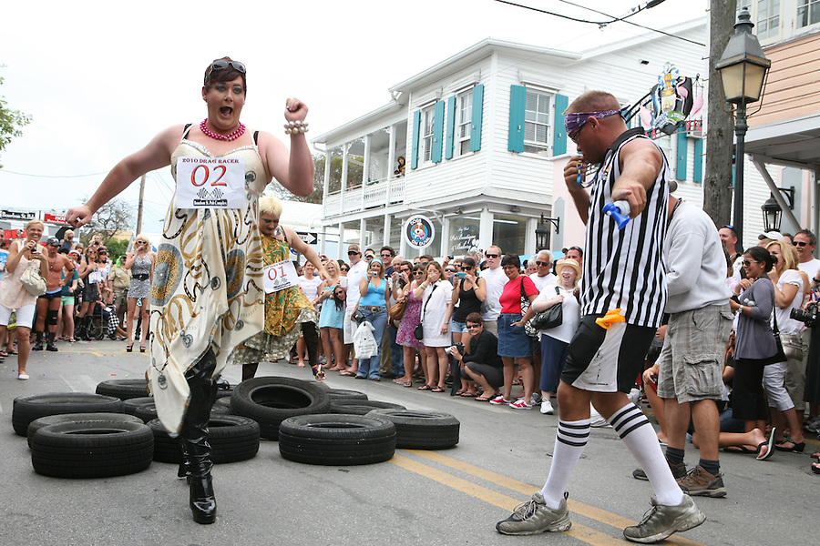 """Key West Annual """"drag"""" race on Duval Street is one of many events held in a town where celebration is a way of life."""
