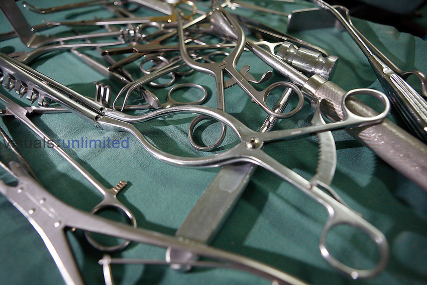 Close up of numerous surgical hand tools. Royalty Free
