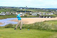 Michael O'Kelly (Limerick) on the 9th tee during Round 3 of The South of Ireland in Lahinch Golf Club on Monday 28th July 2014.<br /> Picture:  Thos Caffrey / www.golffile.ie