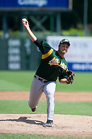 Pitcher William Crowe #50 of Pigeon Forge High School in Sevierville, TN playing for the Oakland Athletics scout team during the East Coast Pro Showcase at Alliance Bank Stadium on August 2, 2012 in Syracuse, New York.  (Mike Janes/Four Seam Images)